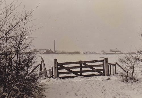 Zicht op Briltil vanaf de Zuidhorner Van Speykstraat, december 1970