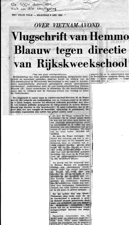 """artikel in """"Het Vrije Volk"""" mei 1966"""